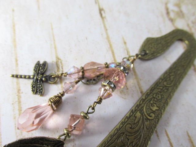 Beaded Brass Bookmark in Vintage Blush Pink with Dragonfly, Crystal Leaf, and Charms - Odyssey Creations