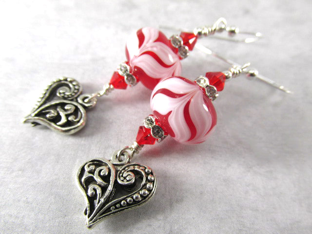 Red and White Lampwork Glass and Swarovski Earrings with Hearts on Sterling Wires - Odyssey Creations