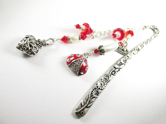 Red and White Lady Bug, Heart and Flower Beaded Bookmark - Odyssey Creations