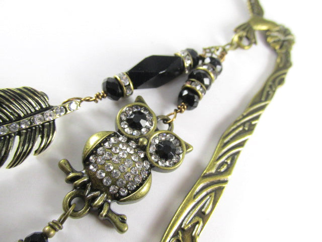 Owl and Feather Brass Hummingbird Bookmark with Black and Clear Crystal Accents - Odyssey Creations