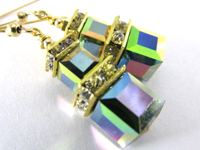 Vitrail Medium Double Stack Square Cube Swarovski Crystal Earrings on 14k Gold Fill - Odyssey Creations