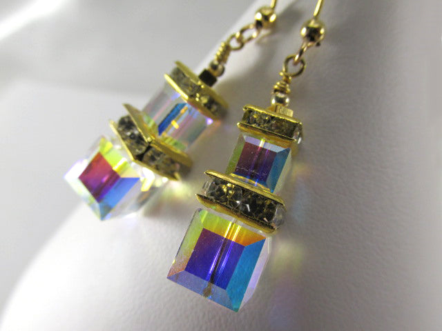 Crystal AB Double Stack 8mm and 6mm Square Swarovski Earrings on 14k gold fill - Odyssey Creations