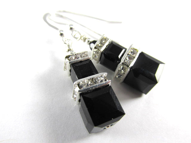 Swarovski Crystal Jet Black Double Stack Square Cube Earrings on Sterling Silver Earring Wires - Odyssey Creations