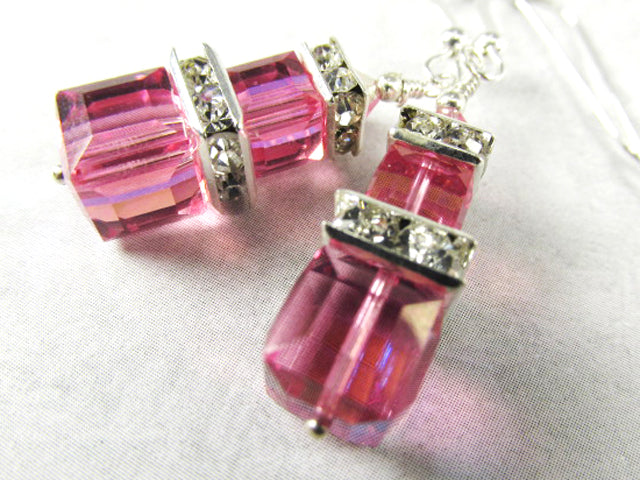 Swarovski Double Stack Cube Pink Rose AB Earrings on Sterling Silver Wires - Odyssey Creations