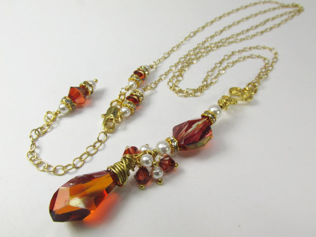Swarovski Red Magma Crystal and White Pearl Long Necklace on 14k Gold Fill - Odyssey Creations
