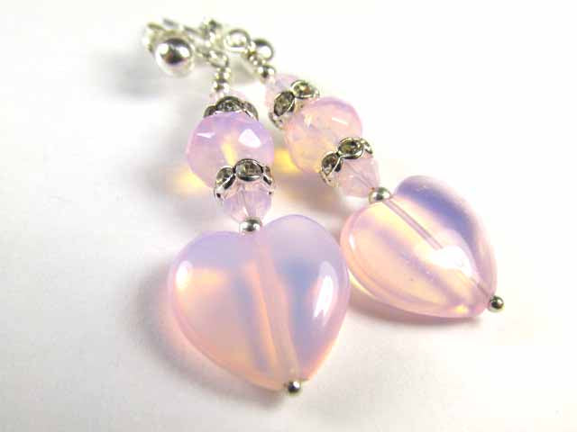 Pink Opal Czech Glass Heart Earrings on Sterling Silver Posts - Odyssey Creations