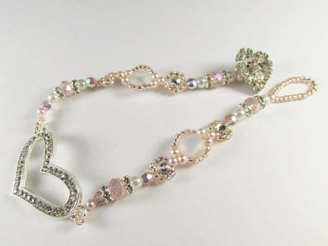 Pink Blush and Crystal Rhinestone Heart Beaded Bridal Bracelet - Odyssey Creations