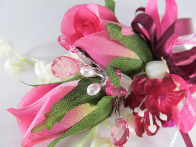 Fuchsia Pink, Burgundy, Green and Cream Cascading Bridal Bouquet and Boutonniere Set - Odyssey Creations