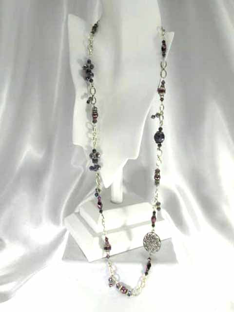 Long or Short Chunky Amethyst Purple Asymetrical Necklace with Charms on Silver - Odyssey Creations