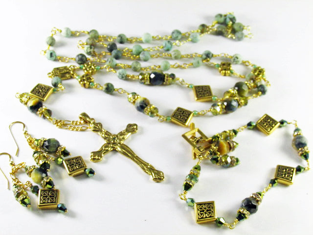 Long Rosary Necklace with Green Tigers Eye Stones, Celtic Diagonal Square Beads - Odyssey Creations