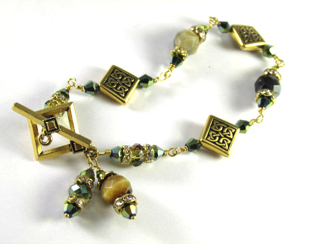 Green Tigers Eye Faceted Stones with Gold Celtic Diagonal Square Beads Bracelet - Odyssey Creations