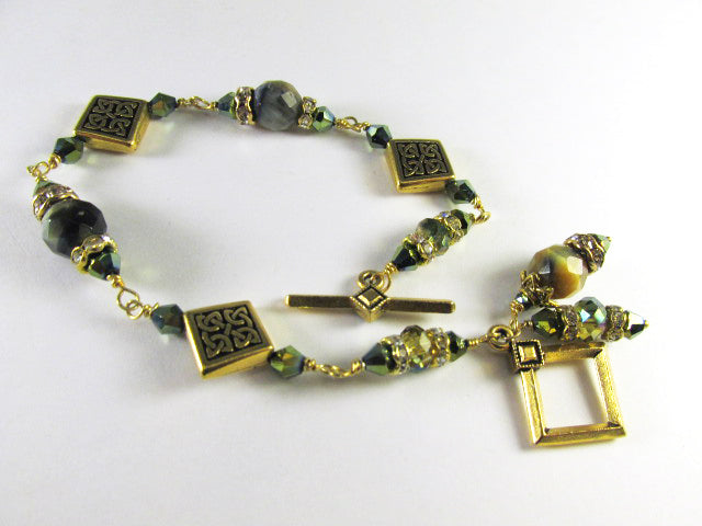 Green Tigers Eye Faceted Stone Bracelet with Gold Celtic Diagonal Square Beads - Odyssey Creations