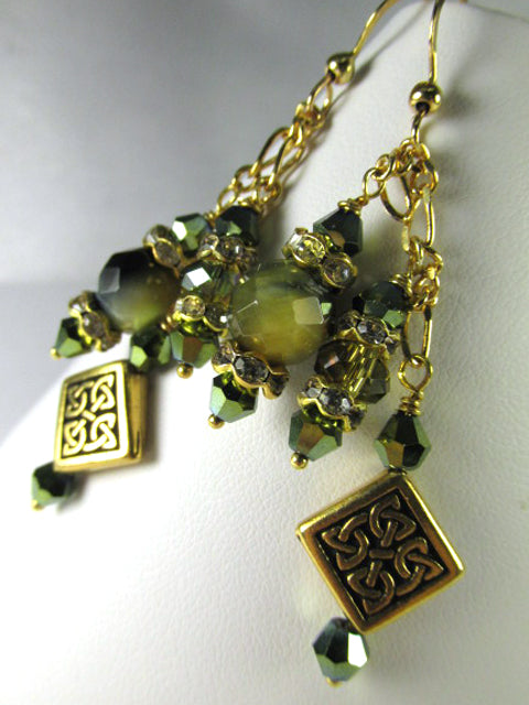 Green Tigers Eye Faceted Stones with Celtic Diagonal Square Bead Earrings on 14k Gold Fill - Odyssey Creations