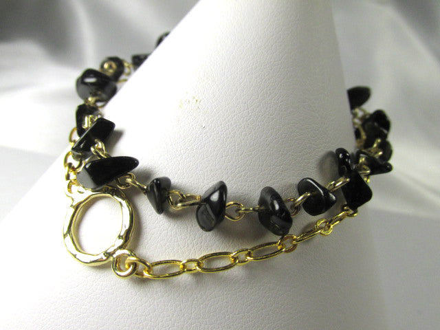 Black Agate Stone Nugget  and Gold Double Strand 7 to 8 inch Adjustanble Bracelet - Odyssey Creations