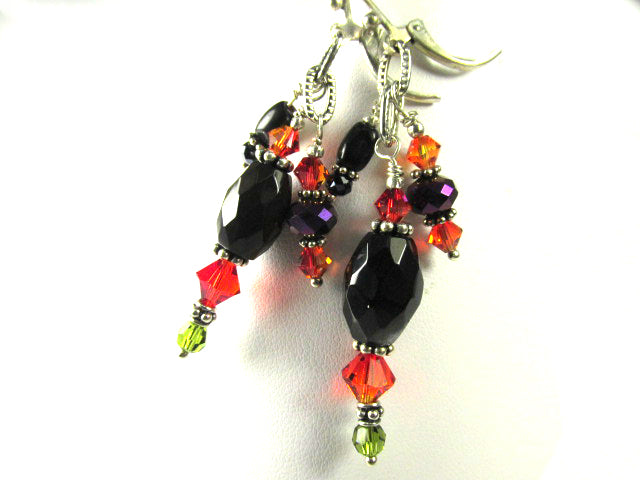 Black Agate and Onyx with Orange, Green and Purple Crystal Triple Dangle Earrings - Odyssey Creations