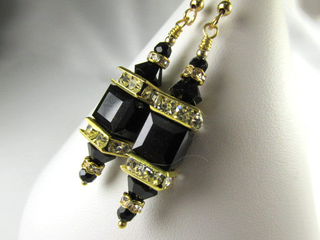 Swarovski Crystal Jet Black Square Cube Lantern Earrings on 14k Gold Fill Wires - Odyssey Creations