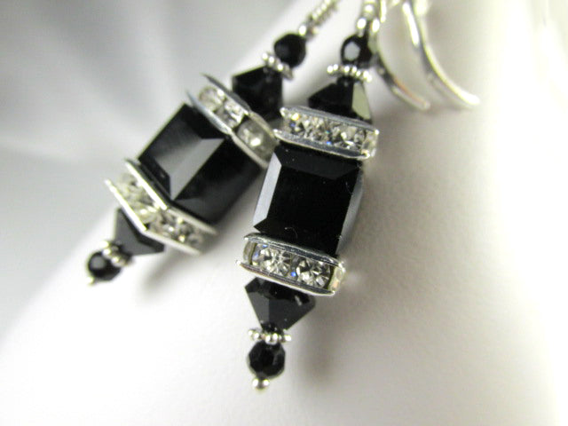 Swarovski Crystal Jet Black Square Cube Lantern Earrings on SSF Leverbacks - Odyssey Creations