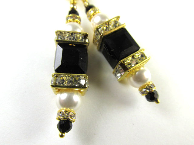 Swarovski Crystal Jet Black and White Pearl Square Cube Earrings on Leverbacks - Odyssey Creations
