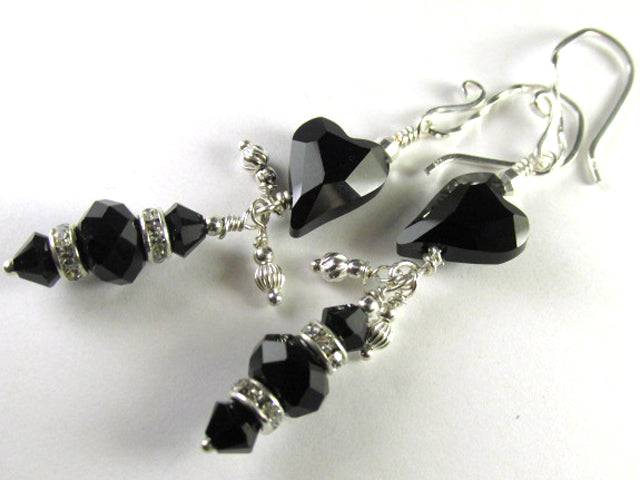 Swarovski Jet Black Wild Heart Silver Earrings with crystal rondelles on Sterling Silver - Odyssey Creations