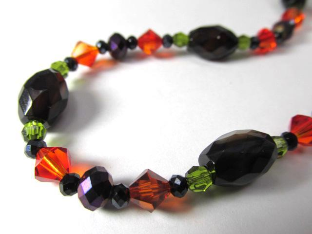Adjustable Necklace in Black Agate and Onyx with Orange, Green and Purple Crystals - Odyssey Creations
