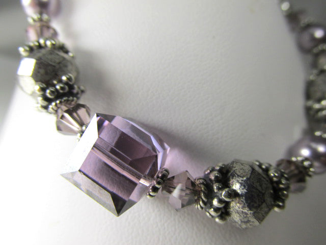Ultra Violet Satin Swarovski Crystal Cube Bracelet and Czech Mercury Glass on all Sterling Silver - Odyssey Creations