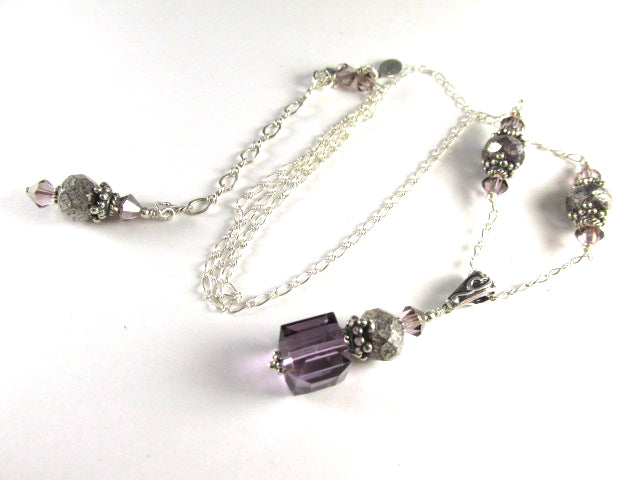 Ultra Violet Satin Swarovski Crystal Cube Necklace on all Sterling Silver - Odyssey Creations