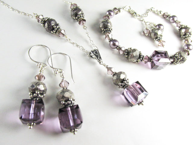 Ultra Violet Satin Swarovski Crystal 10mm Faceted Cube Earrings on all Sterling Silver - Odyssey Creations