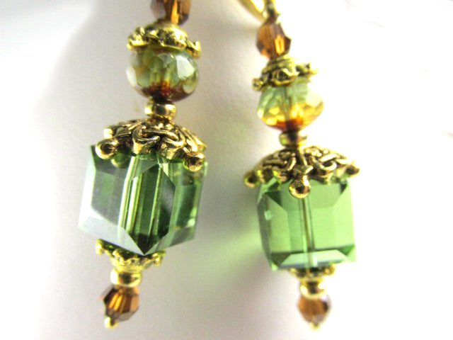 Swarovski Crystal Green Peridot Satin 10mm Cube Lantern Earrings with Celtic beadcaps - Odyssey Creations