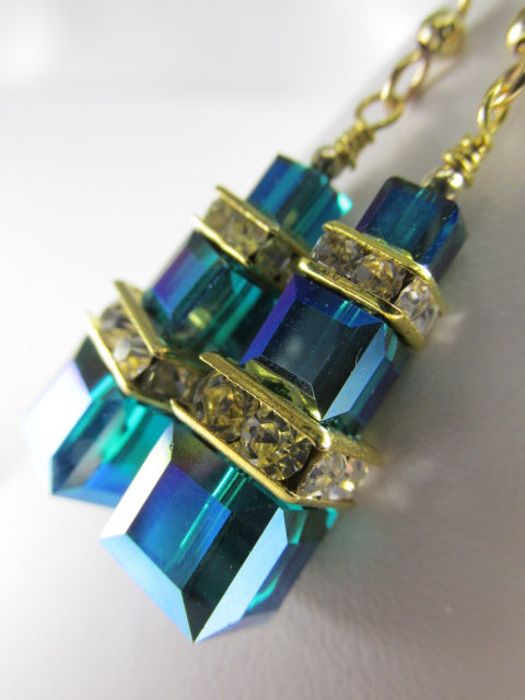 Swarovski Crystal Green Teal Emerald AB Triple Stack Square Cube Lantern Earrings - Odyssey Creations
