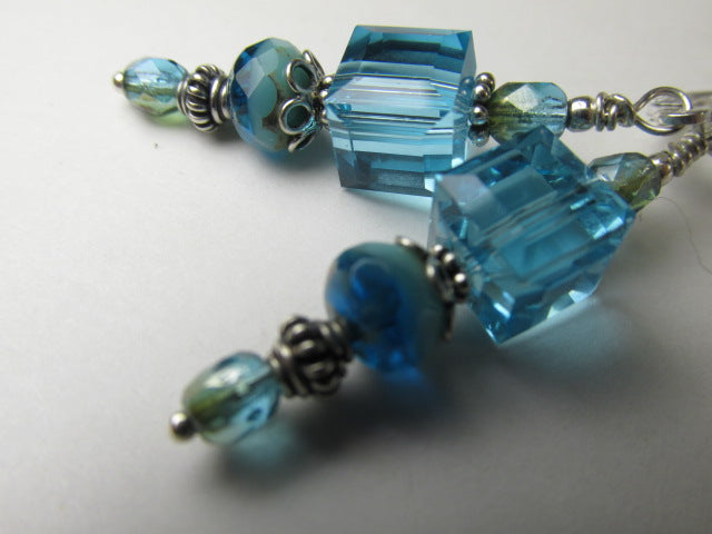 Swarovski Crystal Blue Aquamarine Cubes and Ocean Czech Glass Earrings - Odyssey Creations