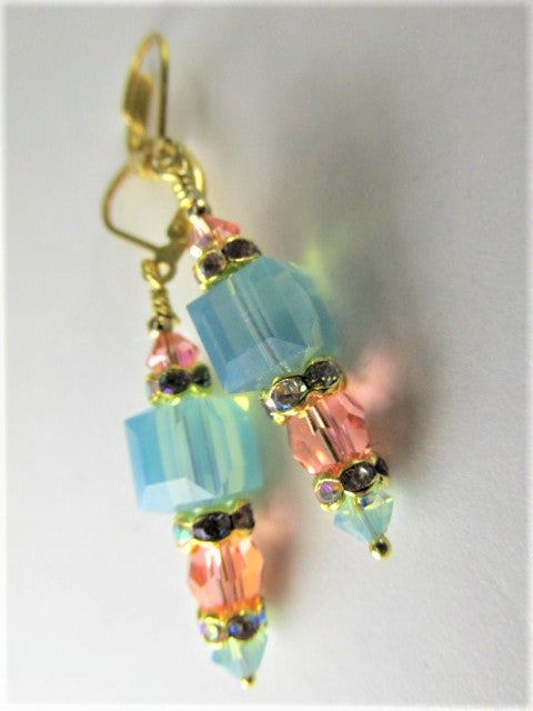 Pacific Opal and Coral Swarovski Crystal Cube Earrings on Gold Vermeil - Odyssey Creations