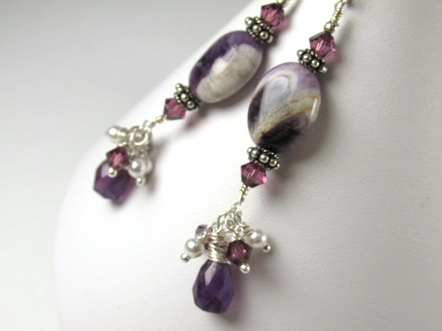 Purple Amethyst Semiprecious Gemstone and Swarovski Earrings on All Sterling Silver - Odyssey Creations