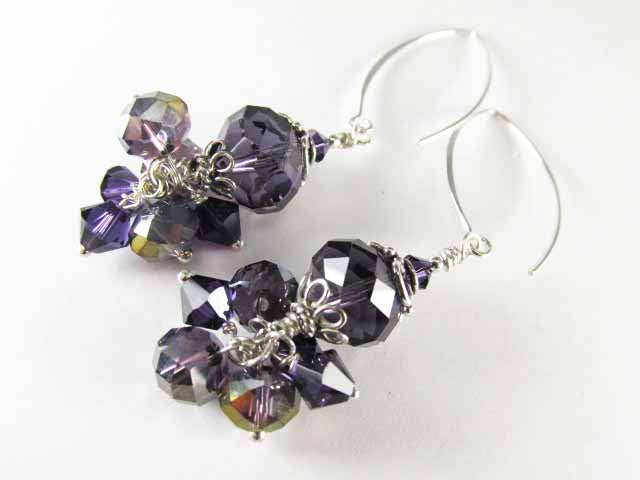 Chunky Purple Swarovski Crystal and Sterling Silver Earrings with V-Shaped Wires - Odyssey Creations