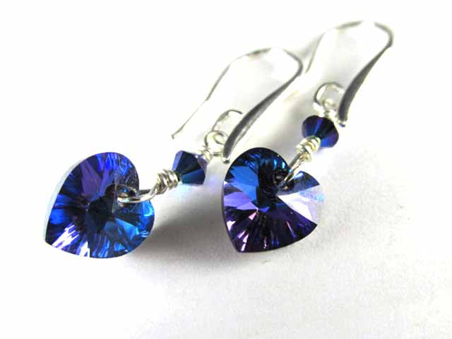 Swarovski Crystal Ultra Purple and Blue Heliotrope Heart Earrings - Odyssey Creations