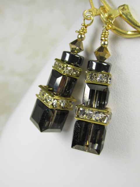 Swarovski Crystal Silver Night Gray Cube Earrings on 22k Gold Vermeil Leverbacks - Odyssey Creations