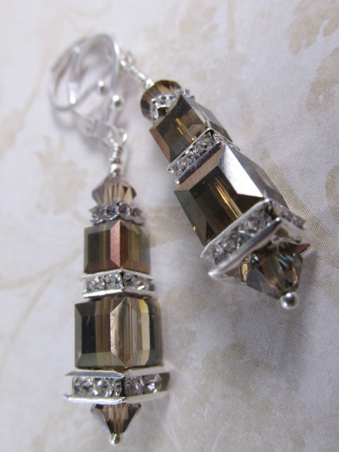 Swarovski Crystal Bronze Shade Brown Cube Earrings on Silver Fill Leverbacks - Odyssey Creations