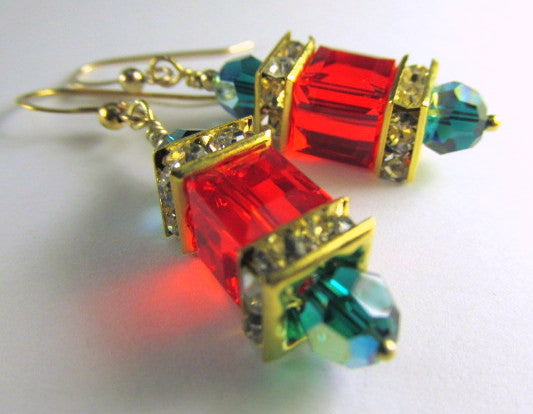 Swarovski Cube Holiday Earrings in Red Green and Gold - Odyssey Creations