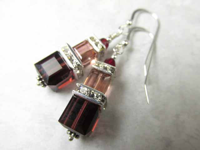 Swarovski Crystal Blush Rose and Burgundy Double Stack Square Cube Earrings - Odyssey Creations