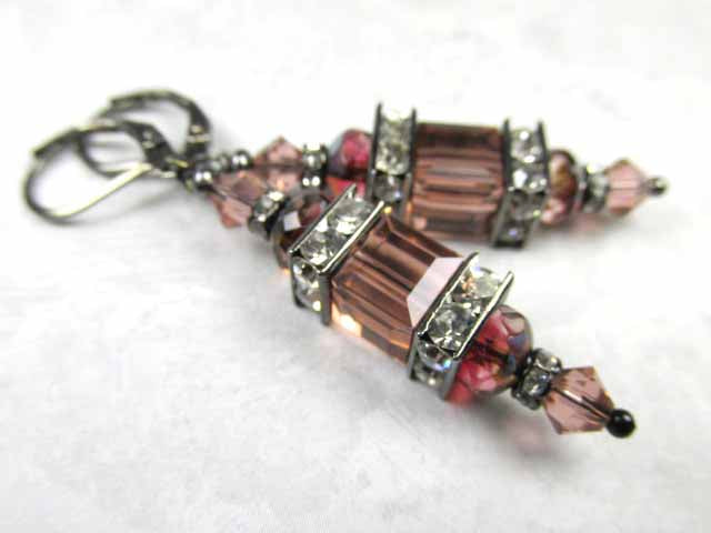 Swarovski Crystal Blush Rose and Czech Rondelles Square Cube Earrings on Gunmetal - Odyssey Creations