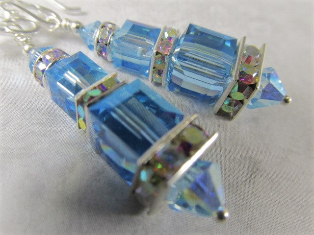Swarovski Crystal Blue Aquamarine Double Stack Faceted Cube Earrings on Sterling Wires - Odyssey Creations