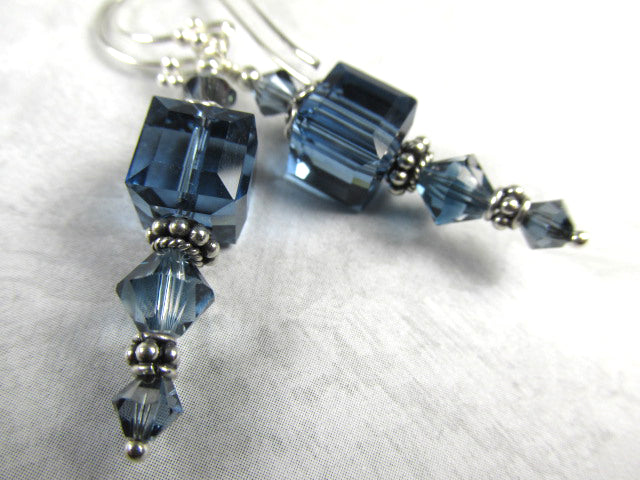 Blue Denim Swarovski Crystal 8mm Faceted Cube Earrings on all Sterling Silver - Odyssey Creations