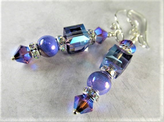 Swarovski Crystal Tanzanite AB, Purple Blue Cube Earrings on Sterling Silver - Odyssey Creations