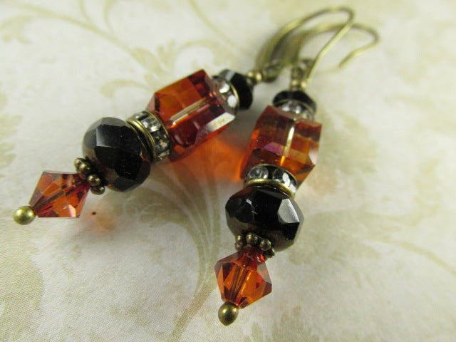 Black and Indian Red Swarovski Crystal Cube Earrings on Brass Wires - Odyssey Creations