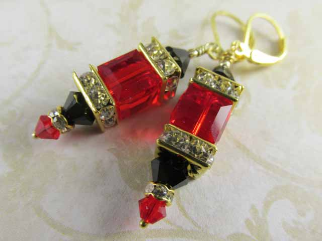 Swarovski Cube Earrings in Red Siam and Jet Black with Gold Crystal Spacers on 224k Gold Vermeil - Odyssey Creations