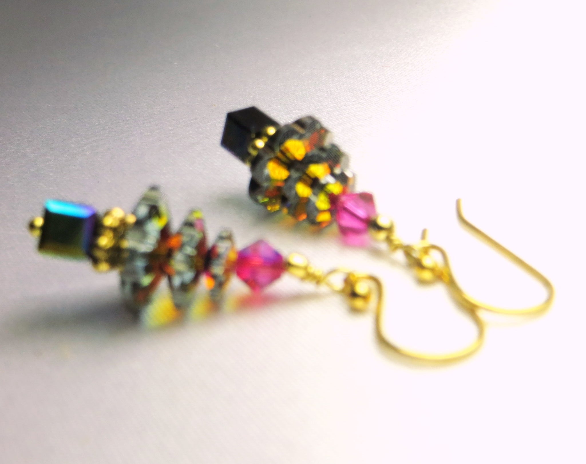 Christmas Tree Earrings in Swarovski Crystal Multicolor Vocano on 14k gold fill - Odyssey Creations