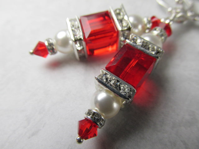 Red Siam and White Pearl Swarovski Cube Earrings on Sterling Silver Leverbacks - Odyssey Creations