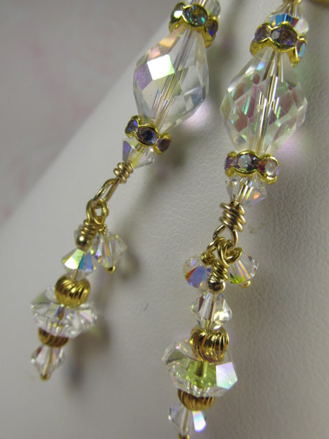 Bridal Earrings in Unusual Vintage Swarovski Crystal AB on 14k Gold Fill Leverback Wires - Odyssey Creations