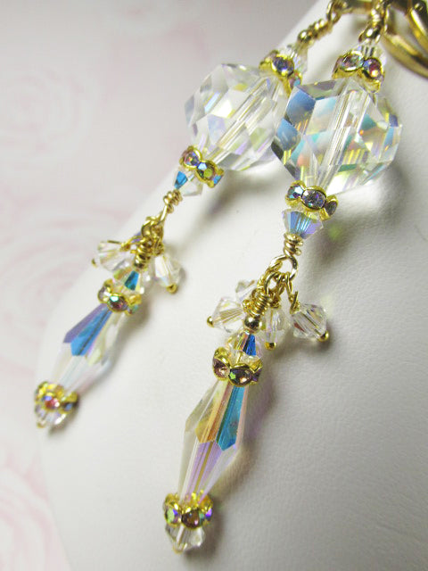 Vintage Swarovski Crystal AB Bridal Earrings on 14k Gold Fill Leverback Wires - Odyssey Creations