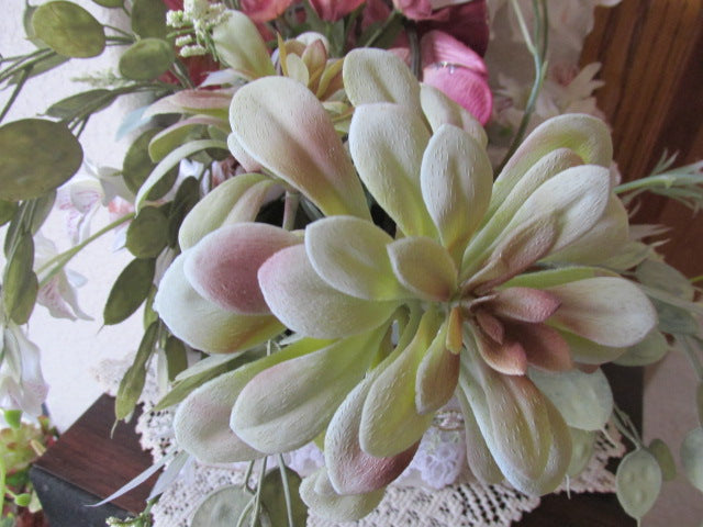 Mauve, Light Green and White Victorian Orchid Floral Centerpiece Arrangement with Succulents - Odyssey Creations