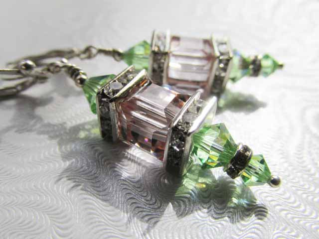 Swarovski Crystal Peridot and Color Changing Cantaloupe Cube Lantern Earrings on Silver Fill Leverbacks - Odyssey Creations